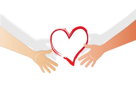 Hands with a love heart concept of couple dating  meeting handshake icon logo vector image