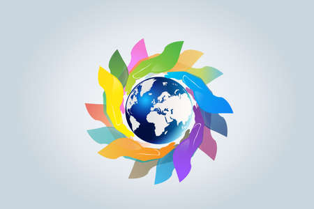 Hands holding a global world map logo vector web image template graphic design illustration