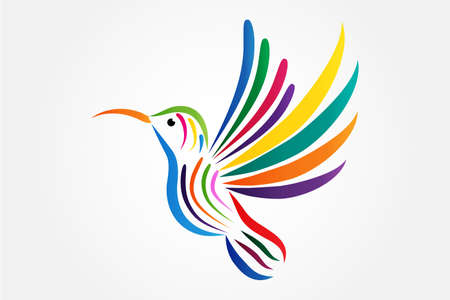 Logo colorful beautiful hummingbird icon vector illustration graphic design web image artistic painted outline silhouette vivid colors background template Illustration