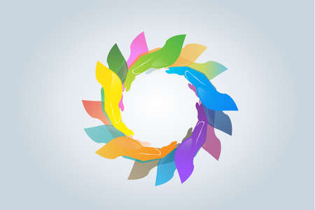 Hands around in circle diversity people logo vector web image template graphic design illustration