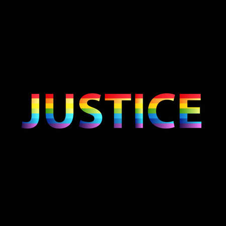 Justice rainbow colors on black background text word vector web image graphic design