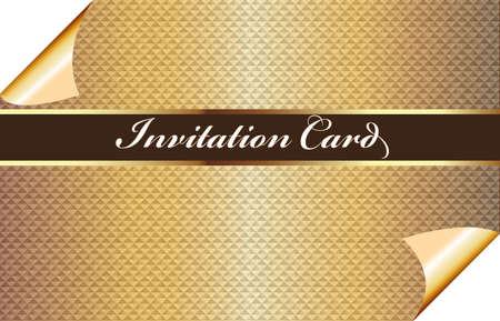 Beautiful vintage golden invitational card pattern design  vector image template background