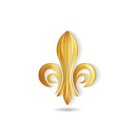 Golden Fleur de lis swirly emblem label icon Illusztráció