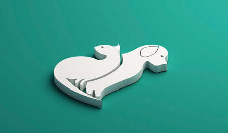3D Logo dog and cat white silhouettes isometric icon web image graphic clip art illustration green background Stock Photo