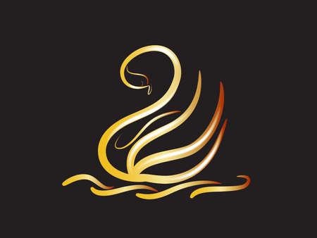 gold swan silhouette elegant beautiful line art vector image graphic design illustration background template