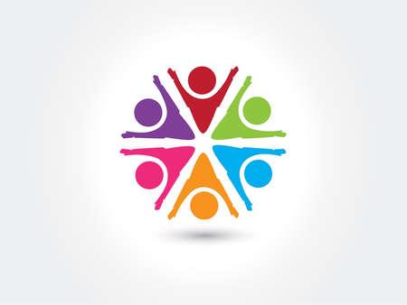 Logo teamwork unity business people colorful icon logotype vector web image design