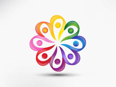 Logo teamwork unity business diversity people in a rainbow flower shape colorful group of friends concepts icon logotype vector web image design