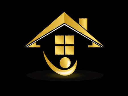 Real estate gold house people figure realtor logo icon vector image design template background illustration Logó