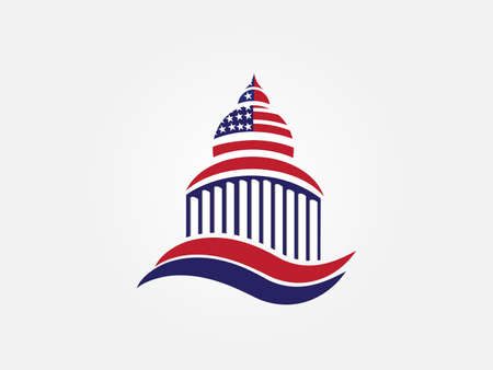 USA flag on cupola building identity business card label icon vector image graphic design template