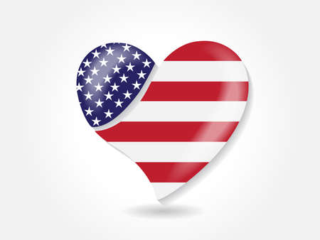 USA American flag in a love heart shape logo vector web image design