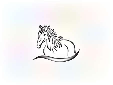 Logo beautiful horse racing identity id card icon veterinary farm concepts vector image design illustration