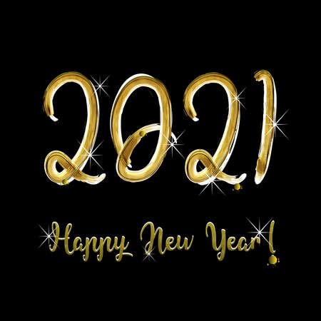 Happy new year 2021 shiny gold background vector image Vettoriali