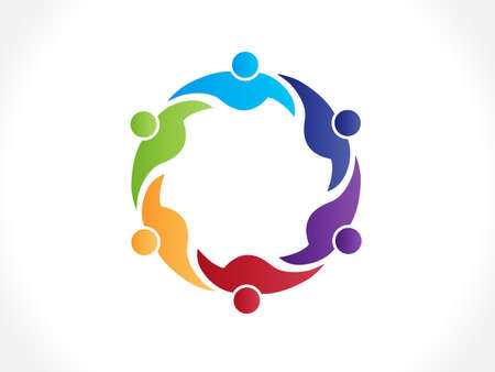 Logo teamwork unity business six people colorful icon logotype vector web image design