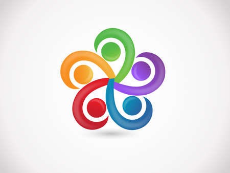 teamwork unity business people holding hands colorful icon vector web image design