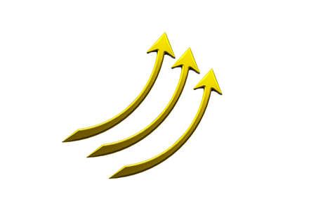 Business golden arrows graph statistics growth sales elegant logo icon 3D image render template