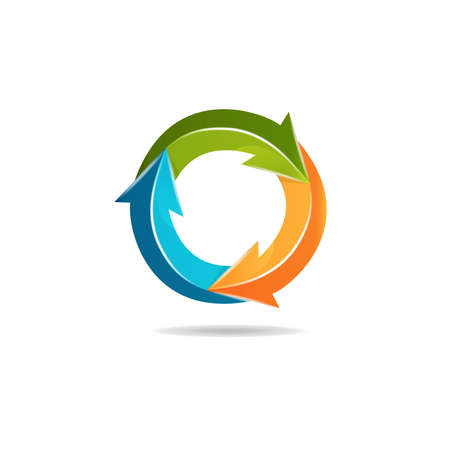Business arrow around in a circle shape graph colorful logo icon 3D vector icon image Vettoriali