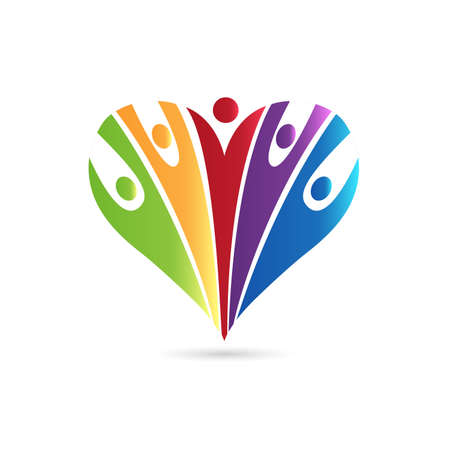 Logo love heart team optimistic charity voluntary friendship colorful teamwork people icon vector image graphic design