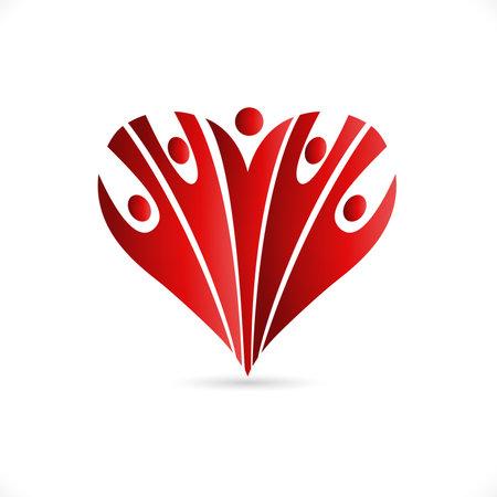 Heart team optimistic charity voluntary friendship people icon design