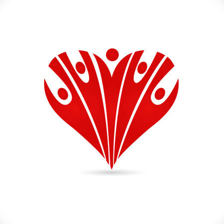 Logo love heart team optimistic charity voluntary friendship people red heart icon vector image graphic design