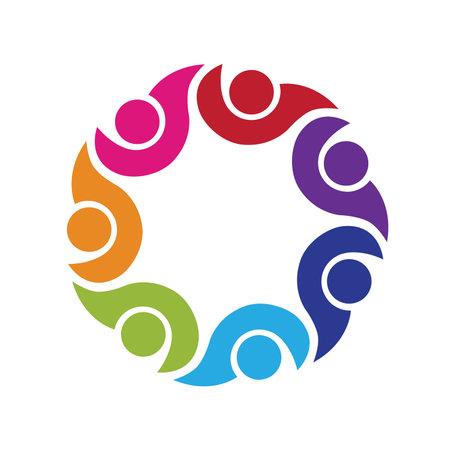 Logo teamwork optimistic successful leadership hug people vector image design graphic illustration