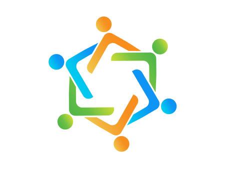 Logo teamwork optimistic successful leadership six people vector image design graphic illustration