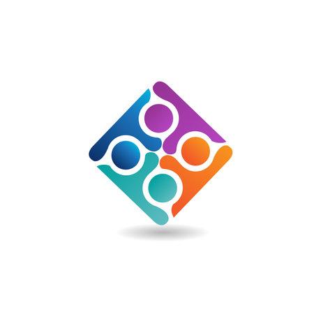Logo teamwork optimistic successful leadership four people vector image design graphic illustration