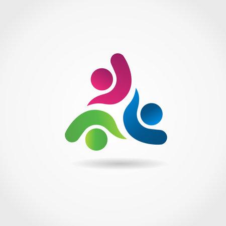 Logo teamwork optimistic successful leadership partners three unity people vector image design graphic illustration Illustration