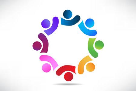 Logo teamwork optimistic successful leadership people team and partners. Vector image design graphic illustration Illustration