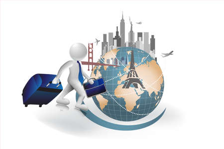 3d Small people business traveling through the world carry a luggage and briefcase. Vector image design