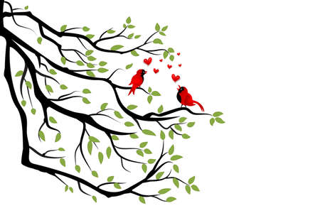 Love birds cardinal on a green branch tree Valentines day concept vector image logo design