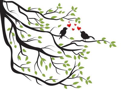 Love birds singing love on a branch tree. Valentines Day Symbol vector image logo design Stock Illustratie