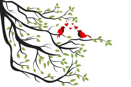 Love birds on a branch tree. Valentines Day symbol vector image logo design