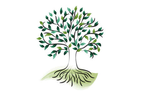 Logo tree roots nature ecology green leaves watercolor vector icon image design