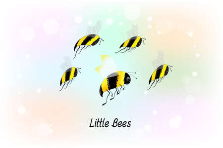 Bees group of insects flying icon logo vector image graphic design on a blue background template