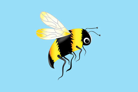 Bee insect close up flying icon logo vector image graphic design on a blue background template