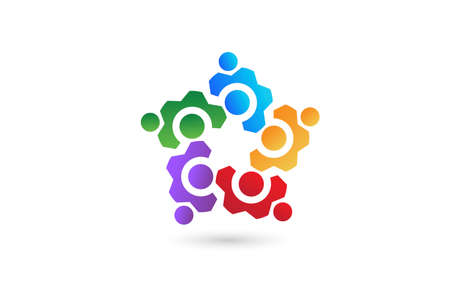 Logo gear industrial business team of five colored people icon vector image design template