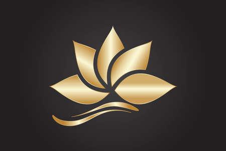 Logo gold lotus flower beautiful luxury minimalistic vector image graphic illustration  イラスト・ベクター素材