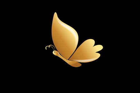 Beautiful Gold Butterfly Luxury Logo Vector Identity ID Card Business Vector Image Template