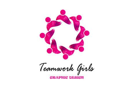 Teamwork girls people icon logo ID card business vector image  イラスト・ベクター素材