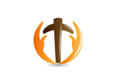 Cross with caring hands religion symbol icon logo vector image design