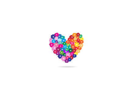 Beautiful love heart of pansy flowers for valentine day card icon  web image graphic illustration clip art design