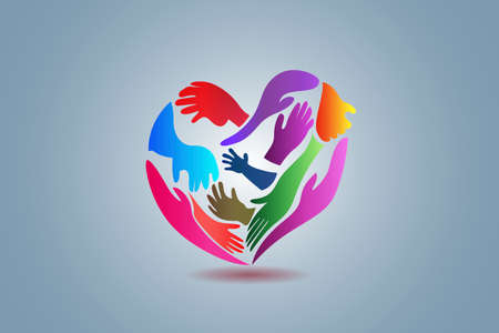 Hands making a love heart shape can be used as charity people voluntary ready to help another poor people logo icon vector image design
