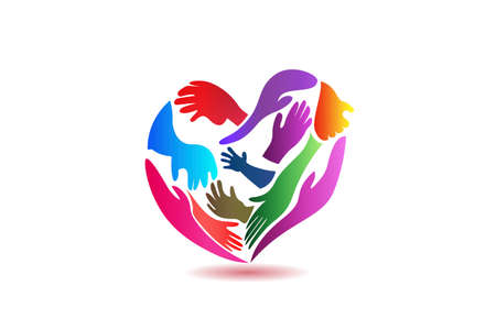 Logo hands making a love heart shape can be used as charity  voluntary party community people icon logotype vector image design  イラスト・ベクター素材