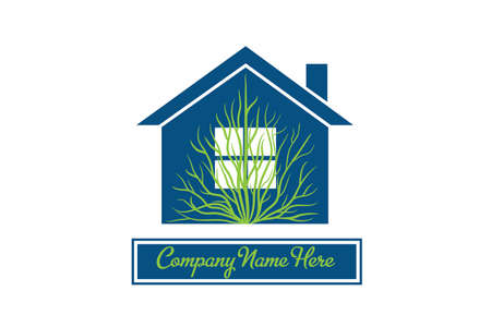 Logo real estate modern blue house with tree icon identity business id card logotype vector image graphic design template  イラスト・ベクター素材