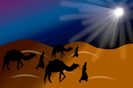 Wise kings travelling with camels to Bethlehem guided by the star in the nativity night picture image design template 写真素材