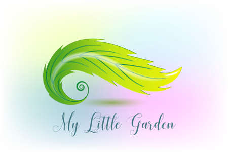 Swirly leaf gardening ecology botanical icon logo vector image illustration graphic design template with the word text of my little garden