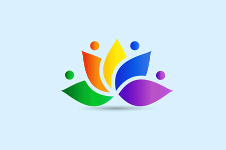 Lotus flower teamwork people colorful icon logo vector image graphic illustration rainbow color gardening care concept banner background template