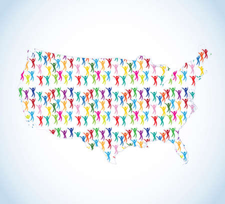 Unity diversity colorful people inside of USA map icon vector image design