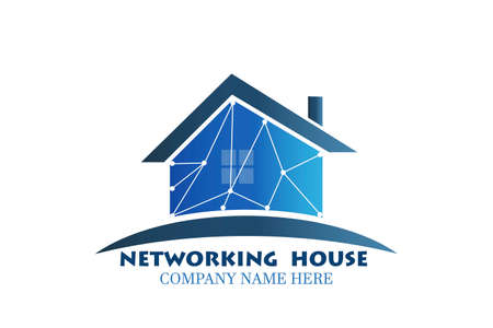 Real estate modern technology networking blue house logo identity business id card vector image graphic design