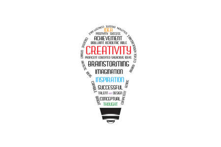 Light bulb shape group of meaning words about creativity logo icon vector isolated in light blue background template